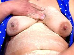 Chubby mature gal hardcore fucked on floor and getting facial