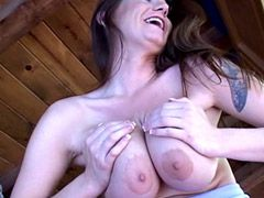 Busty mature lady jumping on big cock and getting facial cum