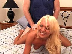 Sexy blonde mature babe having her cunt drilled on bed