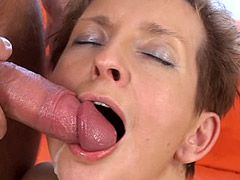 Mature chick sucking cock and anal fucked for facial cum