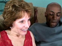 Gigantic African monster cock drilled mature babe on sofa