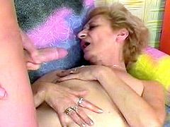 Mature whore with very hairy hole sucking young cock and..