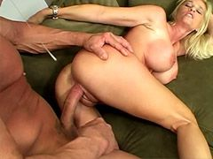 Blonde mature chick sucking cock and..