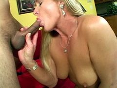 Blonde mature whore gives blowjob and fucking on sofa