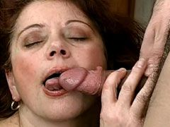 Big busty granny suck hard cock has hairy pussy fuck and..