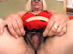 Fat hairy granny blonde whore has hard..