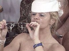 Horny granny jerking and ridding cock before get cum facial