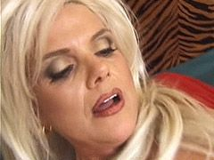 Mature blonde deep throat cock has pussy bang and facial cumshot