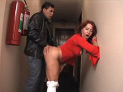 Mad lad fucking chubby redhead mature whore in lift