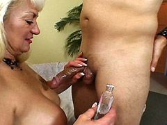 Busty blonde mature whore hard banged on bed
