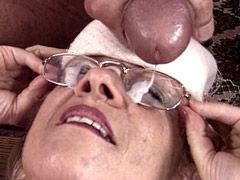 Mature babe gives blowjob and doggystyle fucked on bed