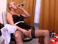 Drunk mature housewife in black stockings fucked in all holes