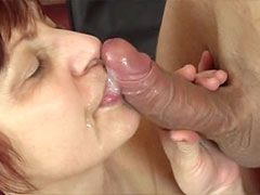 Busty mature chick masturbating and getting cock in her bush