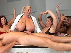 Busty mature slut gets banged in hardcore gangbang