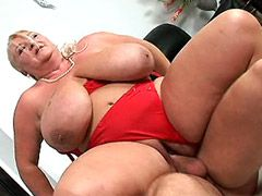 Gigantic boobs mature chick jumping on hard cock for cum