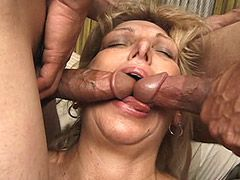 Mature babe sucking cocks and fucking in interracial..