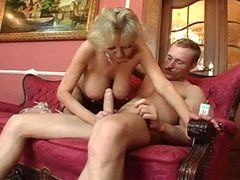 Blonde mature tute in stockings gets cream on huge tits