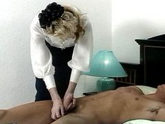 Hungry granny babe gets strong cock in her hairy pussy