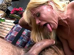 Blonde mature sucking big cock and fucking anal
