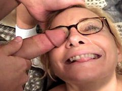 Busty mature lady jerking cocks and fucking in wild group..