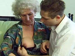Granny gives blowjob to young cock and fucked for facial