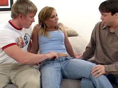 Mature chick hard fucking with brunette and blonde guys