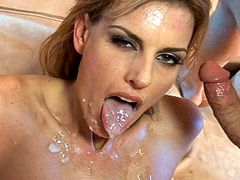 Blonde mature whore gets hard double penetrated and cum