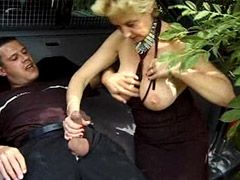 Blonde granny sucking cock and hard doggystyle fucked