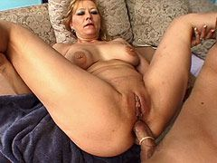 Huge cock in condom anal fucked blonde mature chick