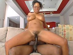 Black mature babe rides big ebony cock and gets creampie