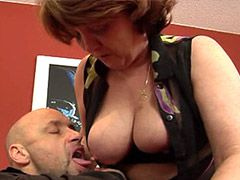 Gigantic monster cock screwing busty mature whore