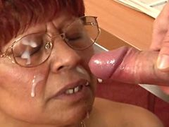 Hungry mature whore gets pussy drilled and facial cum