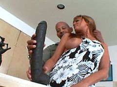 Mature babe playing with gigantic dildo and ebony cock