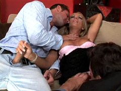 Blonde mature gal gets dped and creampie from cocks