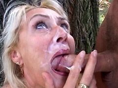 Blonde busty mature babe sucking cock and gets fucked