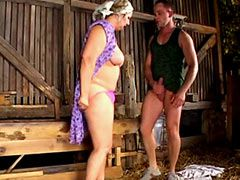 Granny babe with big boobs wild banged in pigsty