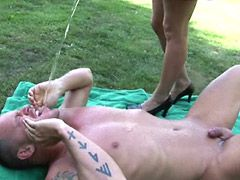 Busty mature whore gives blowjob and fucked in garden