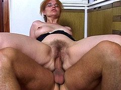 Mature babe gets hard cock in hairy ass in kitchen