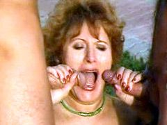 Chubby mature mom fucked by two young guys outdoor