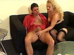Mature bitch in sexy black stockings gets hardcore fucked