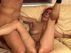 Red granny tute gets hard anal fucked on sofa and cum