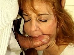 Hairy granny babe sucking hard cock and gets wild bang