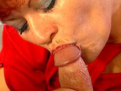 Red granny whore get massive cock in her hairy beaver