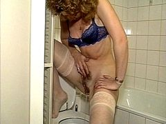 Mature in white stockings gets spearm..