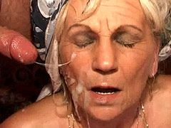 Hungry granny whore hard fucked in wild ganbang orgy