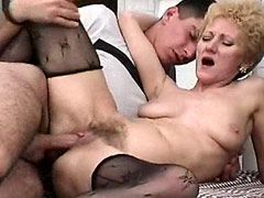 Blonde granny chick in black stockings take hard cock
