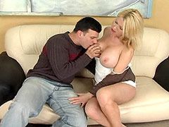 Busty blonde mature chick doggystyle..