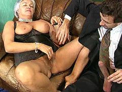 Hairy granny whore banged in group sex and creampied
