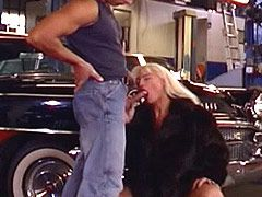 Sexy mature lady wild fucked by big snake in garage
