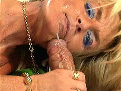 Blonde granny slut riding big cock and getting facial cum